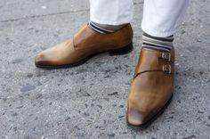 Tan leather monkstraps by Scarpe di Bianco TSBmen
