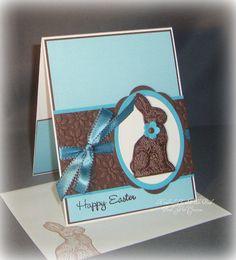 Turquoise  Chocolate Easter Bunny  Handmade Card