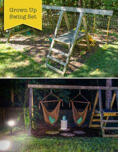 Are your kids still using that old swing set in your backyard or have they long outgrown it? It's time to make this a Swing Set for Grown Ups! Backyard Playground, Backyard Patio, Backyard Landscaping, Playground Kids, Landscaping Ideas, Natural Playground, Backyard Ideas, Landscaping Edging, Kids Swing