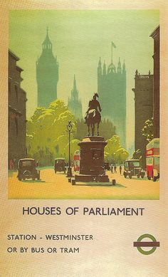 Vintage poster promoting travel to the Houses of Parliament, London