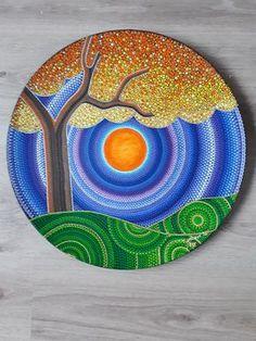 Auntum dot art by sthennacollections on etsy dot art painting, mandala pain Dot Art Painting, Rock Painting Designs, Mandala Painting, Stone Painting, Pebble Painting, Ceramic Painting, Mandala Design, Mandala Dots, Rock Crafts