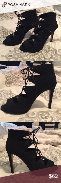 """Aldo Black Heels Peep-toe suede heels with leather sole, zipper in back, 4.75"""" heel, very comfortable, never worn, brand new condition Aldo Shoes Heels"""