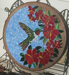 "16"" Hummingbird mosaic stepping stone"