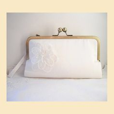 b4466018b8a Ivory clutch bag, wedding purse in rose gold with floral corsage, handmade  silk bridal purse for romantic wedding