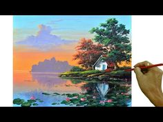 Acrylic Painting Lessons, Water Lilies, Learn To Paint, Landscape Paintings, Lily, Drawings, Artist, Crafts, Painting Tutorials