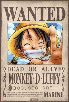 """Póster One Piece. Luffy, Se Busca Precioso poster con la imagen de Luffy, el personaje del manga y anime """"One Piece"""". Una muy buena forma de decorar tu habitación a un precio increible."""