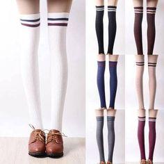 Striped Knee High Socks, Thigh High Socks, Thigh Highs, Harajuku Fashion, Kawaii Fashion, Mode Lolita, Tall Girl Fashion, Cool Outfits, Fashion Outfits