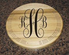 monogram cribbage board wooden cribbage by CustomSignsandTags