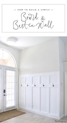 How to build a simple board and batten wall in entryway - moulding panels wainsc.How to build a simple board and batten wall in entryway - moulding panels wainscotting board and batten moulding wall entryway mudroom diy tutorial So. Diy Casa, Farmhouse Side Table, Wall Molding, Diy Molding, Board And Batten, Home Interior, Interior Modern, Interiores Design, Home Projects