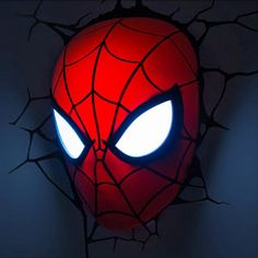 Is your child's favourite superhero spiderman? Check out some great ideas to help create a special spiderman themed bedroom for them! Neon Light, 3d Light, Face Light, Superhero Lamp, Superhero Kids, 3d Deco Light, Led Decoration, Lampe 3d, Spiderman Face