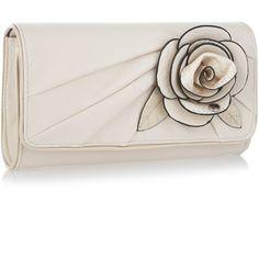 Cream rose applique clutch bag (46 CAD) found on Polyvore featuring bags, handbags, clutches, purses, accessories, bolsas, rosette purse, rosette handbag, cream handbag and rose purse