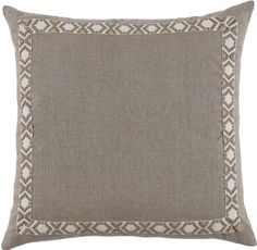 Natural Linen 24x24 Pillow with Grey on Off White Camden Tape