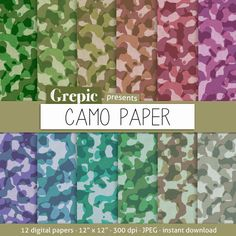 "Camouflage digital paper: ""CAMO PAPER"" with camouflage patterned camo paper in different colors for scrapbooking, invites, cards #clipart #download"