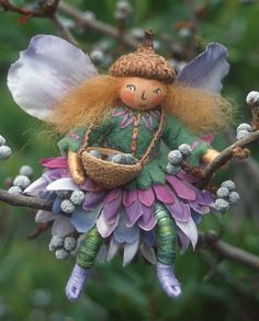 One of Sally Mavor's charming Wee Folk creations - she has a wonderful book with instructions for creating your own, 'Felt Wee Folk'