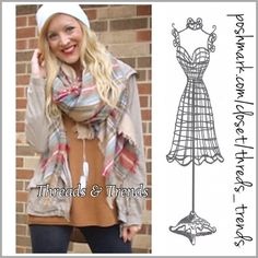 Pink & Grey Plaid Blanket Scarf Popular tarts in plaid blankets scarf in color pink & grey. Wear as a shawl or scarf. Threads & Trends Accessories Scarves & Wraps