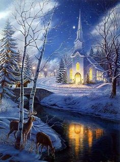 James Meger's print HOLY NIGHT is the second in a series based on the Christmas song Silent Night. Lights from the church cast a peaceful glow across the creek. Looks like a Christmas card. Christmas Scenes, Christmas Pictures, Christmas Art, Winter Christmas, Christmas Wreaths, Christmas Decorations, Winter Scenery, Thomas Kinkade, Winter Pictures