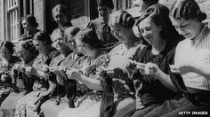 """""""granny skills help revival of wool industry"""" _Women from South London knit socks for men fighting in WWII"""