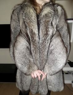 WOMEN'S SILVER/GREY FOX FUR COAT VALENTINE'S DAY PRESENT SIZE M-L #NOBRAND #OtherCoats