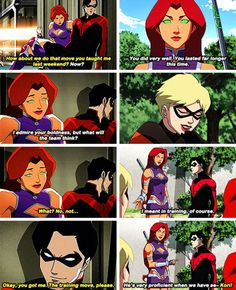 Nightwing and koris sex conversations are killing me Marvel And Dc Superheroes, Marvel Dc Comics, Marvel Characters, Robin Starfire, Nightwing And Starfire, Young Justice League, Bbrae, Teen Titans Go, Comic Movies