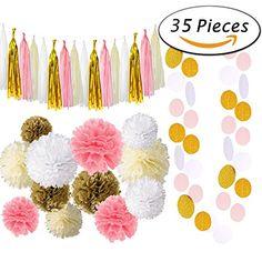 Paxcoo 35 Pcs Pink Gold Cream Tissue Pom Poms Paper Flowers Tissue Tassel Polka Dot Garland for 1st Birthday baby shower Decorations - http://partysuppliesanddecorations.com/paxcoo-35-pcs-pink-gold-cream-tissue-pom-poms-paper-flowers-tissue-tassel-polka-dot-garland-for-1st-birthday-baby-shower-decorations.html