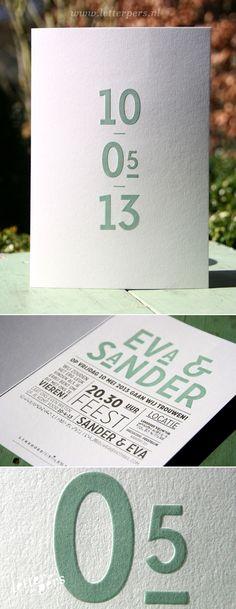 Trouwkaart Eva & Sander - Letterpers.nl