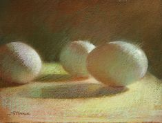 Eggs, Trio   Pastel on paper by Sally Strand