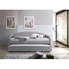 Ebern Designs Towcester Twin Daybed with Trundle Color: Light Gray Metal Daybed, Wood Daybed, Upholstered Daybed, Sofa Bed, Lounge Sofa, Trundle Mattress, Twin Daybed With Trundle, Cama Ikea, Daybed Design