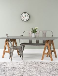 Grey Washed Trestle Dining Table - ex catalogue Table Beton, Concrete Table, Concrete Furniture, Vintage Dining Chairs, Trestle Dining Tables, Kane Chairs, Cool Chairs, Interiores Design, Outdoor Dining