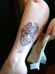 #tattoo #memorialtattoo #lacetattoo #legtattoo pocket watch tattoo #rosetattoo