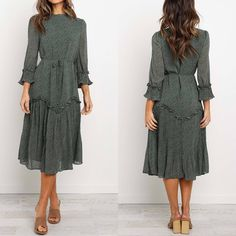 - Midi length- High round neckline with ruffle details- Long sleeves with elasticised ruffle cuff and pleating - Detachable waist tie- Ruffle and pleating detailing- Partially lined- polyester- Cold hand wash- Pleated Midi Dress, Floral Print Maxi Dress, Long Sleeve Midi Dress, Maxi Wrap Dress, Dresses To Wear To A Wedding, Fall Dresses, Fashion Dresses, Church Outfits, Winter Outfits