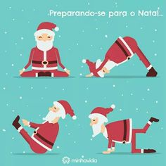 Santa Claus doing yoga. Christmas Post, Christmas Humor, Christmas Tress, Xmas, Ayurveda, Yoga Cartoon, Workout Programs For Women, Yoga For Kids, Vinyasa Yoga