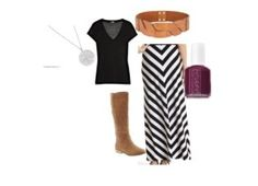 Chevron maxi skirt, black tee, camel boots & accents