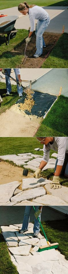 How to install a stone walkway: something makes me think it is not as effortless as the pictures make it seem.  Still a lovely idea!