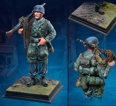 World War II German Army CS60003 Fallschirmjager at Carentan Statue - Made by The Collectors Showcase Military Miniatures and Models. Factory made, hand assembled, painted and boxed in a padded decorative box. Excellent gift for the enthusiast.