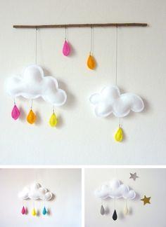 Móbiles de nubes de fieltro