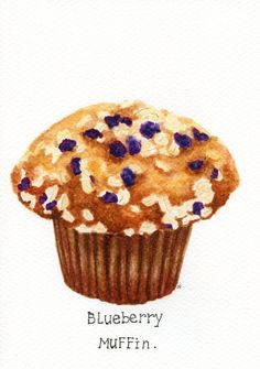 ORIGINAL Painting - Blueberry Muffin (Food Watercolors Wall Art, Still Life) A5