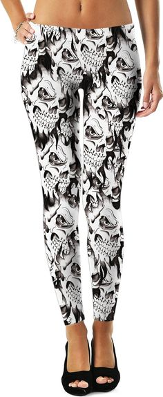 Halloween demonic skulls pattern leggings, ghost themed black and white design, spooky demon smile - for more art and design be sure to visit www.casemiroarts.com, item printed by RageOn at www.rageon.com/a/users/casemiroarts - also available at www.casemiroarts.com #leggings #clothing #style #fashion #sexy #hot