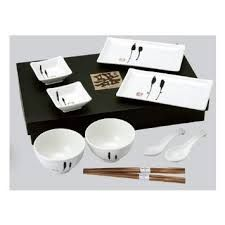 Japanese Sushi, Wasabi Plates, Bowls & Spoons Set in White & Black Sake Sushi, Sushi Plate, Sushi Set, Sushi Time, Japanese Kitchen, Japanese Sushi, Black Gift Boxes, Flatware Set, Cutlery