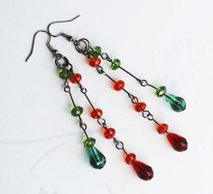 Funky Christmas Green Red Teardrop Crystals Handmade Unique Long Dangle Earrings