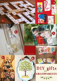 Scrabble-MIL.  Numbers DAD- Calendar with nieces?.  Family Tree- DAD... DIY gifts for grandparents on TheMombot.com