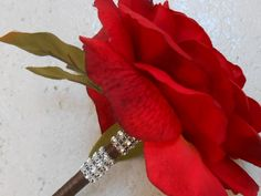 Wedding Guest Book Pen / Red Rose Flower Pen by YesMoreFunk, $15.00