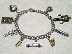 """SUPERNATURAL Dean Winchester Charm Bracelet with NINE Charms (7.25"""" chain) - Custom Orders Welcome"""