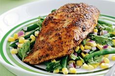 Colourful corn salad is a delicious side dish for any meal but goes exceptionally well with Cajun-style fish.