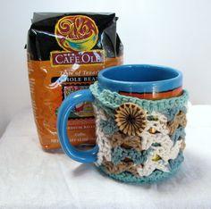 Turquoise tan sand shell Mug Hug cozy 100 by CozyCornerCrochets, $8.00