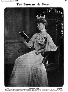 An ornate belle epoque diamond and natural pearl tiara, circa 1890. Worn here by Ethel, Baroness de Forest at a Spencer House shin dig in 1906. Designed as seven diamond open-work motifs, each topped with an upright, pear-shaped pearl, with diamond spacers.