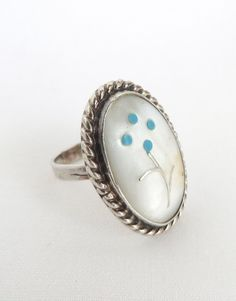Vintage Zuni Floral Inlay Sterling Silver Ring With Mother Of Pearl and Turquoise Size 6