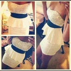 White dress with black belt