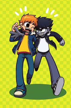 Scott and Nega Scott Drawing Cartoon Characters, Cartoon Drawings, Character Design Animation, Character Art, Scott Pilgrim Comic, Bryan Lee O Malley, Comic Art, Comic Books, Vs The World
