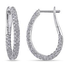Delmar Jewelers 14K White Gold 1.08ctw White Diamond Pavé Hoop Earrings