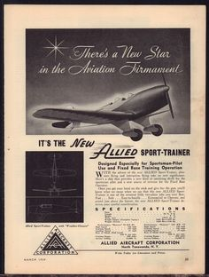 1939 ALLIED Aircraft Sport Trainer Plane Vintage Aviation AD Old Advertising
